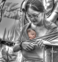 The Baby Sling (Scott 97006) Tags: sleeping woman baby lady female mom kid child mother sling closeness comfort