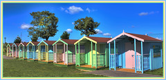 Beach Huts at Maldon Prom. (Andy Gant) Tags: uk trees england sky color colour building texture colors architecture buildings colours bluesky structure textures essex beachhuts maldon timberframe maldonprom