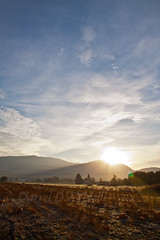 Sunrise over the Pumpkin Patch (reprocessed) (LongInt57) Tags: morning blue autumn sky orange brown white canada mountains green fall field yellow clouds sunrise dawn frost bc okanagan farm pumpkins hills kelowna agriculture shining squashes