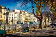 Sarajevo (Bajo Rogan) Tags: street autumn trees leaves architecture bench walking austria nikon traffic outdoor sarajevo bosnia herzegovina hercegovina bosna miljacka d5300