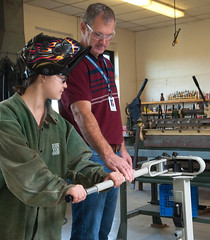 Industrial Technology students at East Wiltshire School (Government of Prince Edward Island) Tags: industrial technology shop shopclass industrialarts drillpress welder bender teacher instructor eastwiltshire saw bandsaw sander