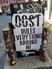 Cost, New York, NY (Robby Virus) Tags: street nyc newyorkcity ny newyork adam art me wall graffiti flyer cole manhattan wheatpaste paste cost rules around everything bigapple