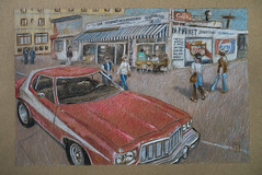 2016-11 scène Starsky et Hutch-1100257-small (klaxodessin) Tags: dessin drawing automobile voiture auto car red colouredpencil pencil rouge crayon crayondecouleur fordgrantorino ford torino starsky hutch starskyethutch