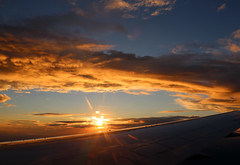 2016_10_03_lhr-ewr_140 (dsearls) Tags: 20161003 lhrewr sunset altittude flying newyork newjersey aerial windowseat windowshot united ual unitedairlines aviation wing airplane boeing boeing767 blue sky orange clouds pink altostratus altocumulus stratus sun
