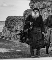 An Actor in a film at the Venetian Fort in Heraklion, Crete (neilalderney123) Tags: 2016neilhoward olympus crete greece venetian bw person actor