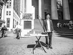 Someone to talk to (C@mera M@n) Tags: blackandwhite financialdistrict manhattan monochrome ny nyc newyork newyorkcity people places streetportrait wallstreet wideangle outdoors peoplewatching