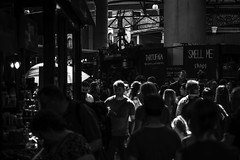 in the light of a morning... (@petra) Tags: petra monochrome blackandwhite market people light crowded talking choosing enjoying saturday london uk nikond600