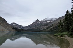 Overcast (Patricia Henschen) Tags: alberta canada bowlake bowglacier bowfalls bow lake nationalpark parks parcs icefieldsparkway banff banffnationalpark glacier glacial reflection mountain mountains rocky rockies northern clouds