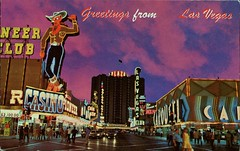 Fremont Street, Las Vegas, Nevada (SwellMap) Tags: postcard vintage retro pc chrome 50s 60s sixties fifties roadside midcentury populuxe atomicage nostalgia americana advertising coldwar suburbia consumer babyboomer kitsch spaceage design style googie architecture neon night evening dark street marquee