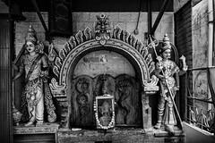 A Temple Courtyard Wall - Bangalore (Anoop Negi) Tags: temple karnataka bangalore bengaluru veerapillai street commercial city urban hinduism durga snake god sculpture kitsch photo bnw black white monochrome photography anoop negi ezee123