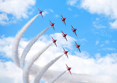 """ROYAL AIR FORCE """"RED ARROWS"""". (tommypatto : ~ IMAGINE.) Tags: raf redarrows red airplanes airshows aircraft"""