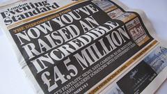 Evening Standard Dispossessed Fund headline (HowardLake) Tags: newspaper eveningstandard dispossessed fund