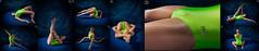 Hard Light (llbdevu) Tags: boy zentai nylon tights ballet tight shiny catsuit leotard bodysuit unitard spandex lycra posing contortion gymnast flash light green blue white skin