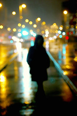 Night Lights (CoolMcFlash) Tags: focus bokeh light night person silhouette street vienna standing woman canon eos 60d fokus lichter nacht kontur strase wien stehen frau fotografie photography reflection spiegelung wet nas rain regen tamron a007 2470