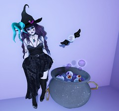 Post #1778 ( =^^=) Tags: halloween purple pink black spider witch cauldron eye flying gacha rare applier hud makeup mesh shoes stockings dress hair wavy eyes tentacle worm bubble cross belt web tattoo cat second life pinkatude sashakitteh fashion blog emo goth gothic punk
