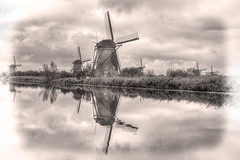 Vision to Yesterday (Waterfall Guy) Tags: windmill kinderdijk netherlands black white bw europe