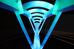 Tethered wifi (Elios.k) Tags: horizontal outdoors nopeople abstract architecture tower bridge lights illuminated led blue saeyeongyobridge cable colour color night dark travel travelling summer august 2016 canon 5dmkii camera photography seogwipo jeju jejudo island korea southkorea asia