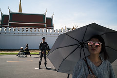 * (Sakulchai Sikitikul) Tags: street snap streetphotography summicron songkhla sony 35mm thailand bangkok wheelchair police umbrella sunglasses tourist   leica