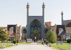 Khameini and khomeini posters around shah mosque on naghsh-i jahan square, Isfahan province, Isfahan, Iran (Eric Lafforgue) Tags: ancient architecture buildingexterior colorimage copyspace day esfahan famousplace fullframe hispahan history horizontal humanrepresentation incidentalpeople iran iranianculture isfahan ispahan khameini khomeini middleeast minaret mosque naghshijahan outdoors people persia persianculture photography propaganda religion sepahan square travel traveldestinations unescoworldheritagesite isfahanprovince