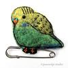 Budgie (JoMo (peaceofpi)) Tags: bird budgie budgerigar parakeet needlefelting sewing handstitched animal kiltpin miniature tiny birdie handembroidery wool babybird handmade finecraft peaceofpi canada