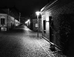 Night in Lund (f_bertilsson) Tags: lund night natt lundanatt svartvitt black white bw street corner eerie lamp post gatlykta kusligt gata kullersten cobblestone