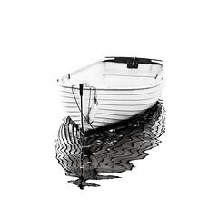 Barchetta (Bruus UK) Tags: devon teignmouth boat afloat highkey blackwhite bw reflection water ripple hull harbour rope marine coast sea seaside calm alone solo mooring moored