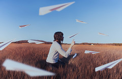 weightless (lauren zaknoun) Tags: levitationphotography levitation surreal surrealphotography surrealism surrealist paperairplanes fantasy fairy fairytale unreal conceptual nature goldenhour wish sunset