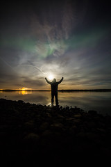 Watching auroras with the moon on my shoulder (Leksa87) Tags: canon eos 6d landscape selfportrait moon aurora night sky clouds nature sea