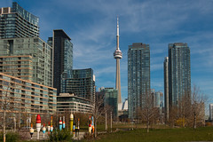 View from Canoe Landing Park (A Great Capture) Tags: cityscape buildings park canoelanding publicart fishing bobbers cityplace ig agreatcapture agc wwwagreatcapturecom adjm ash2276 ashleylduffus ald mobilejay jamesmitchell toronto on ontario canada canadian photographer northamerica fall autumn automne herbst 2016