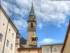 A Salzburg cityscape (Digidoc2) Tags: architecture salzburg towers cityscape old sky blue clouds urban clock austria
