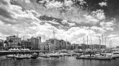 Muelle deportivo - Gijn (navarro.anibal) Tags: bw espaa spain barco ciudad asturias bn cielo nubes gijon yate