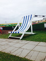 Largest easy chair I have seen (By Michael Fernandes) Tags: park uk blue england white holiday michael chair large easy ainsdale southport fernandes