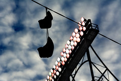 Hang On (Andy Marfia) Tags: chicago clouds lights wire shoes baseball hanging playoffs wrigleyfield lakeview wrigleyville wavelandave d7100 1685mm