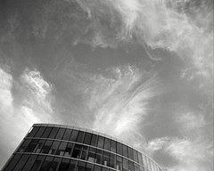Clouds (p2-r2) Tags: uk cambridge england sky blackandwhite film clouds rollei buildings nikon retro 100 fa nikkor20mmf4