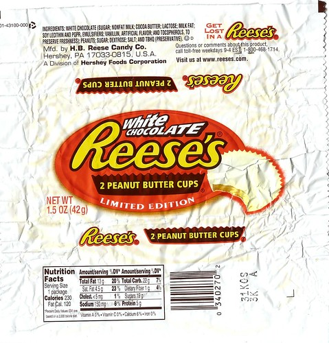 Reese's White Chocolate peanut butter cups wrapper - Limited Edition