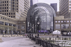 A View Of Winter Garden In North Cove Manhattan (nrhodesphotos(the_eye_of_the_moment)) Tags: road nyc windows people building geometric glass metal architecture docks reflections shadows exterior waterfront outdoor manhattan steel piers columns indoor structure wintergarden walkway hudsonriver wtc railing batteryparkcity pathway lightfixtures northcove wintergardenatrium brookfieldplace wwwflickrcomphotostheeyeofthemoment theeyeofthemoment21gmailcom dsc01351200