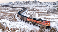 Christmas Eve at Sully (VFR Photography) Tags: railroad snow train landscape landscapes gm energy track snowy tracks rail railway overcast trains erosion transportation northdakota nd rails badlands coal stark ge christmaseve railways hopper bnsf fuel railroads bulk winterweather generalelectric hoppers eastbound emd burlingtonnorthernsantafe lateautumn 6138 8578 sd70ace es44ac billingscounty peacegardenstate sullysprings unitcoaltrain