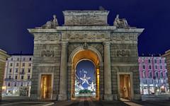 Porta Garibaldi (Fil.ippo) Tags: city longexposure milan star gate cityscape nightscape milano porta garibaldi filippo d7000 filippobianchi