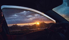 Sunset in a ride (Claudio Beck) Tags: sunset window glass contrast movement interior horizon tint driver sillouette inside