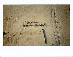 010116 (Lucia Piergiovanni) Tags: light sea cold film sand branch foto january footprints il primo le roll written fa dellanno fujiinstax istantanea 010116chi
