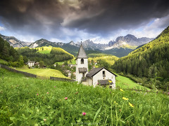 San Cipriano (Huub wolfs photography) Tags: montagne paysage natur zuiko em1 omd1 unesco tiers rosengarten italia valley dolomites mountains church sancipriano landscape clouds nature natuur olympus italy