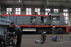 Loco TEM2-172  |  Lazy, nr Katowice  |  2016 (keithwilde152) Tags: tem2 megamet lazy pkp poland 2016 railway workshops wagon repairs industrial buildings architecture people diesel locomotives indoors