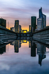 Paris, La Dfense in a puddle (pierrepphotography) Tags: paris ladfense puddle reflections france skyline cityscape sunset