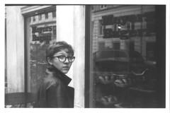 Danish Window Shopper (JamesAlexanderThorne) Tags: 1958 hunter camera broken ilford blackwhite out of date copenhagen denmark young woman shopping street window europe