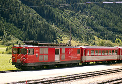 "Swiss metre gauge Matterhorn Gotthard Bahn (MGB) Class Deh 4/4  motor luggage van No. 93 ""Oberwald"" at Oberwald on 13 Aug 2016 (Trains and trams eveywhere) Tags: mgb matterhorngotthardbahn deh44 electric motorluggagevan realp switzerland railways schweiz gotthrd furka"