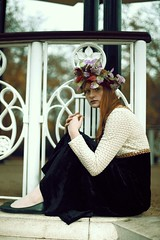 Natalie (sgladiate) Tags: fashion portrait red girl model photoshoot preraphaelite painting art fairy