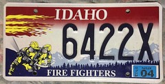 IDAHO 2004 ---FIRE FIGHTERS LICENSE PLATE (woody1778a) Tags: usa america licenseplate numberplate registrationplate mycollection myhobby oddball alpca1778