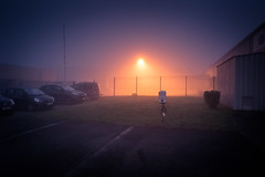 L'étrangeté est au bord du matin... /Strangeness At the Edge Of the Morning (Gilderic Photography) Tags: liege gracehollogne belgium belgique belgie mist fog brouillard brume morning matin mystery parking cars surreal canon g7x gilderic