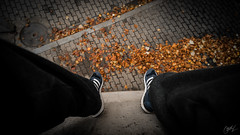 Thinking. 2/365 (adriangawl) Tags: think autumn feet leaves high fall metitation reflect moment orange bron grey parkour mind head legs