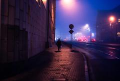 illuminations (ewitsoe) Tags: street city fog foggy poznan poalnd polska europe walking alone ewitsoe nikon d80 35mm lights dark night morning autumn